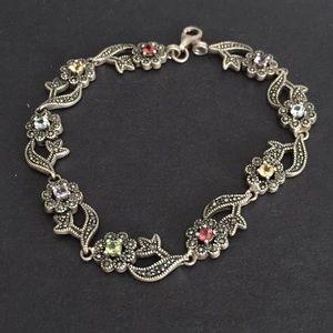 Sterling Silver Gemstone and Marcasite Bracelet
